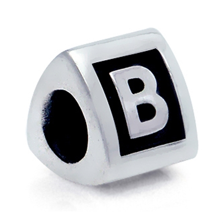 925 Sterling Silver Alphabet Letter B Threaded European Bead
