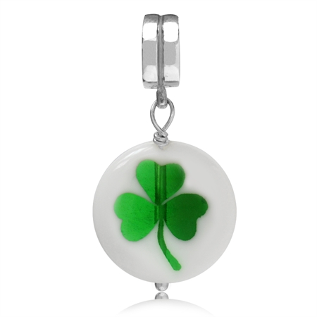 Murano Glass 925 Sterling Silver Shamrock-Three Leaf Clover Dangle Threaded European Charm Bead