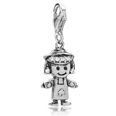 White CZ 925 Sterling Silver GIRL Dangle Charm