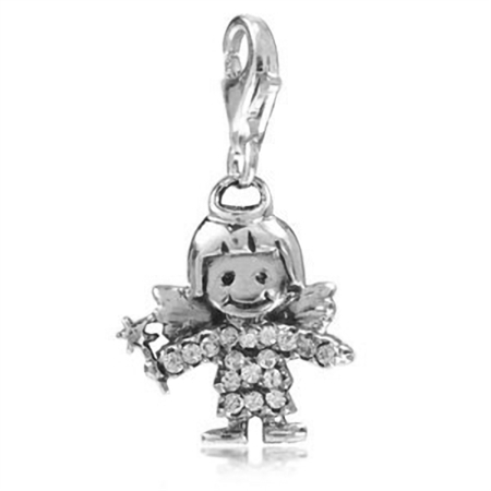 White CZ 925 Sterling Silver ANGEL Dangle Charm