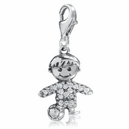 White Cubic Zirconia (CZ) Sterling Silver Soccer Player Dangle Charm