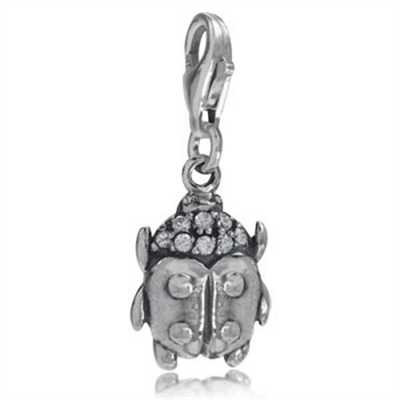 White CZ 925 Sterling Silver LADYBUG Dangle Charms