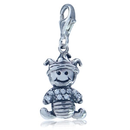 White CZ 925 Sterling Silver BABY Dangle Charm
