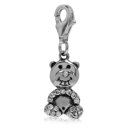 White CZ 925 Sterling Silver TEDDY BEAR Dangle Charm
