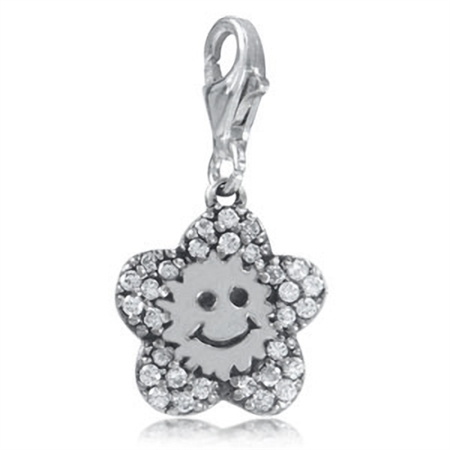 White CZ 925 Sterling Silver SUNFLOWER Dangle Charm