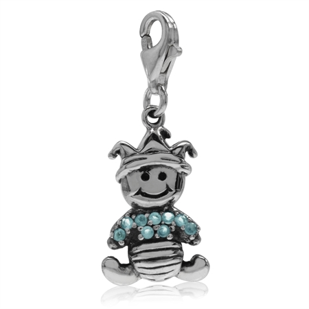 Topaz Blue CZ 925 Sterling Silver BABY Dangle Charm