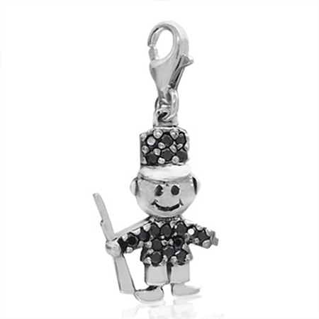 Cute Black Cubic Zirconia (CZ) Sterling Silver Soldier Dangle Charm