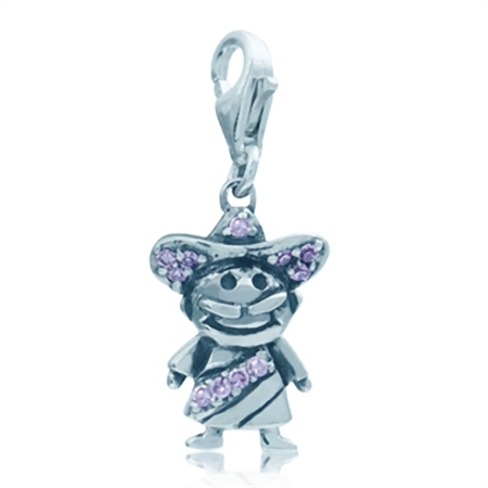 Pink CZ 925 Sterling Silver MEXICAN MAN Dangle Charm
