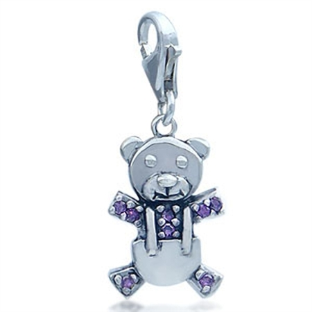 Adorable Amethyst Purple Cubic Zirconia (CZ) Sterling Silver Teddy Bear Dangle Charm