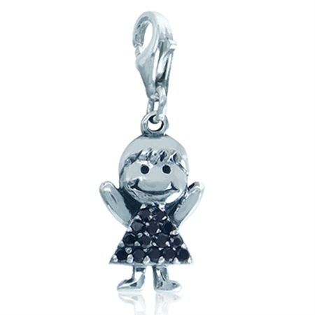 Black CZ 925 Sterling Silver Girl Dangle Charm