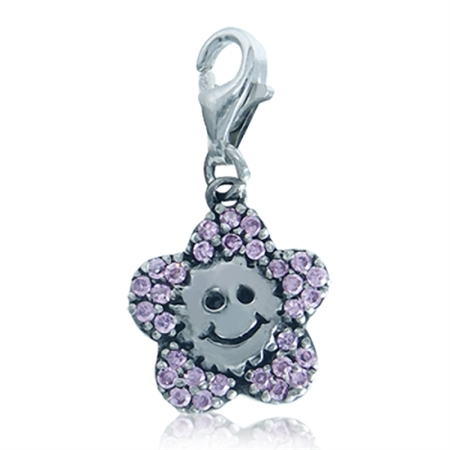 Pink CZ 925 Sterling Silver SUNFLOWER Dangle Charms