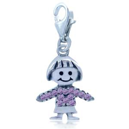 Charming Pink Cubic Zirconia (CZ) Sterling Silver Girl Dangle Charm
