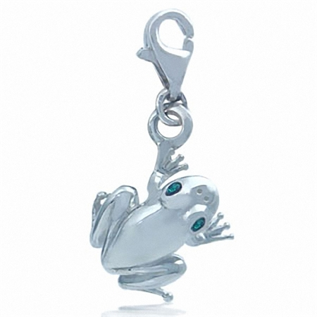 Nagara Emerald Green Crystal Frog Sterling Silver Dangle Charm