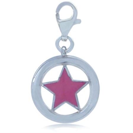 Pink Enamel 925 Sterling Silver STAR Dangle Charm