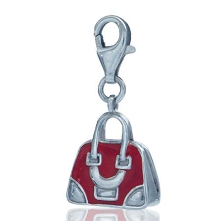 Nagara Cute Red Enamel Sterling Silver Handbag Dangle Charm
