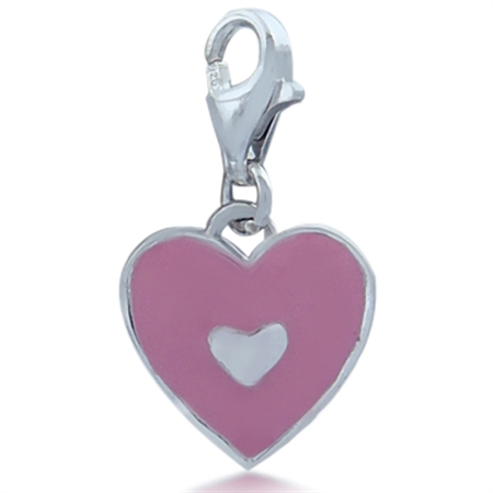 Nagara Pink Enamel Heart 925 Sterling Silver Dangle Charm