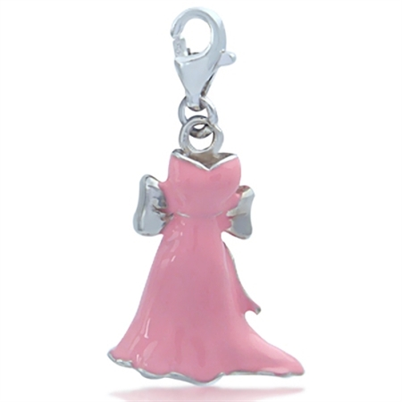 Nagara Pink Ribbon Dress GOWN Sterling Silver Dangle Charm