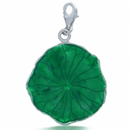 Green Enamel 925 Sterling Silver LOTUS LEAF Dangle Charm