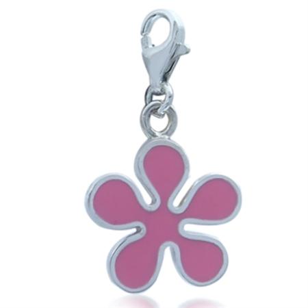 Pink Enamel 925 Sterling Silver Trendy Flower Dangle Charm