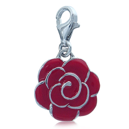 Red Enamel 925 Sterling Silver Flower Dangle Charm