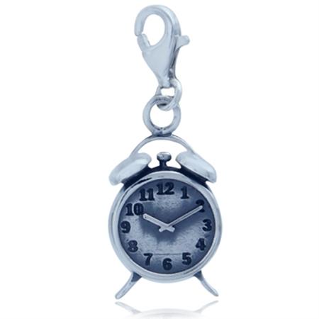 Nagara ALARM CLOCK 925 Sterling Silver Dangle Charm