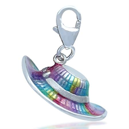 Nagara Multi Color Enamel Cartwheel Hat Sterling Silver Dangle Charm