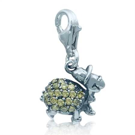 Adorable Olive Cubic Zirconia (CZ) Sterling Silver Turtle Dangle Charm