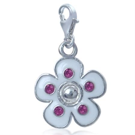 Nagara White Enamel & Pink Crystal Flower Sterling Silver Dangle Charm