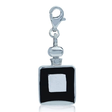 Black Enamel 925 Sterling Silver Perfume Bottle Dangle Charm