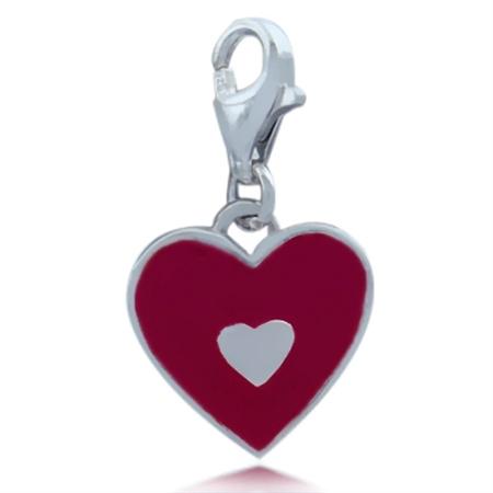 Nagara Red Enamel Heart 925 Sterling Silver Dangle Charm