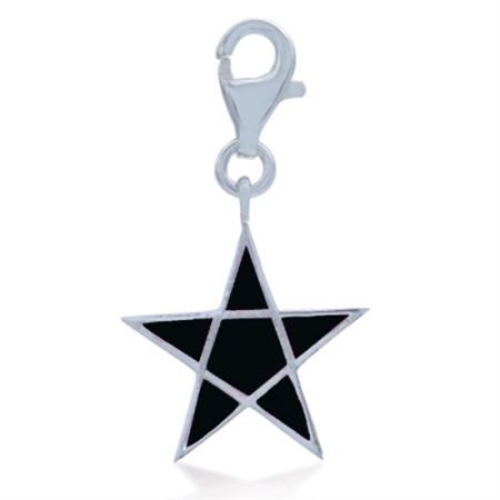AUTH Nagara Black Enamel STAR Sterling Silve Dangle Charm