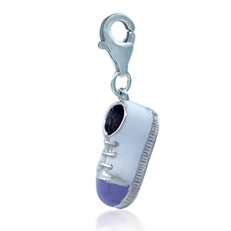 Nagara White & Purple TENNIS SHOE/SNEAKER Sterling Silver Charm