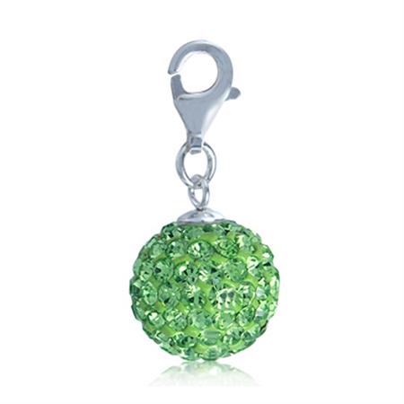 Nagara Peridot Crystal Ball 925 Sterling Silver Dangle Charm