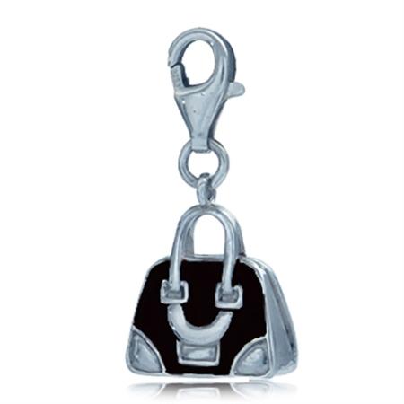 Nagara Cute Black Enamel Sterling Silver Handbag Dangle Charm