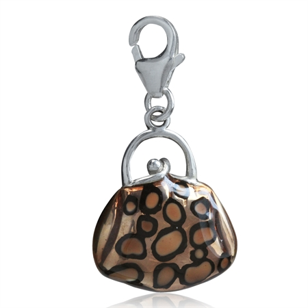 AUTH Nagara Brown & Black Enamel 925 Sterling Silver HANDBAG/PURSE Dangle Charm