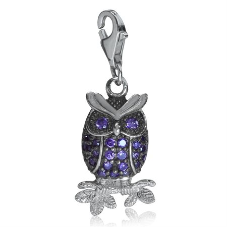 Amethyst Purple CZ White Gold Plated 925 Sterling Silver WISE OWL Dangle Charm
