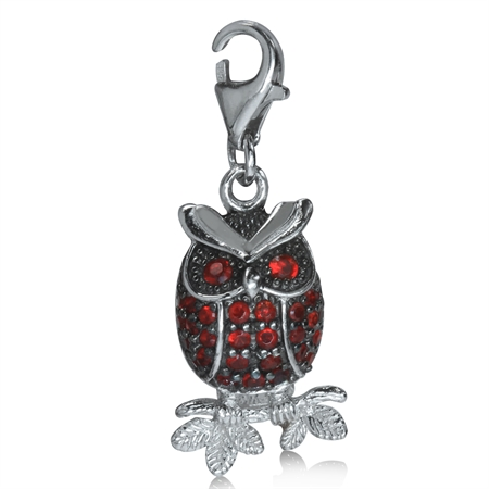 Ruby Red CZ White Gold Plated 925 Sterling Silver WISE OWL Dangle Charm