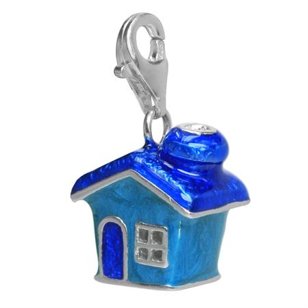 Blue Enamel 925 Sterling Silver HOME/HOUSE Dangle Charm