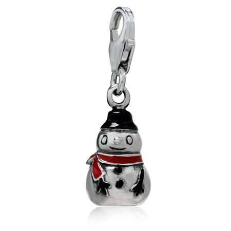 Black & Red Enamel 925 Sterling Silver Snowman Dangle Charm