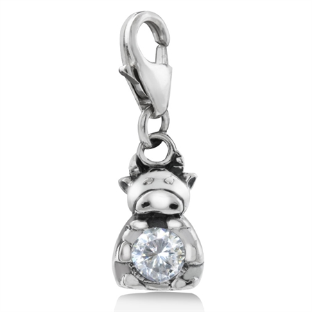 White CZ 925 Sterling Silver Chinese Zodiac COW Dangle Charm