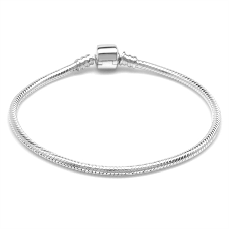 925 Sterling Silver Snap Charms Bead Bracelet 9.25 Inch.