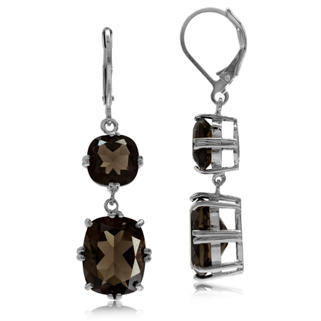 13.4ct. Natural Smoky Quartz White Gold Plated 925 Sterling Silver Leverback Dangle Earrings