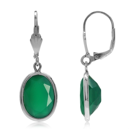 10.34ct. 14x10MM Natural Oval Emerald Green Agate 925 Sterling Silver Drop Dangle Leverback Earrings