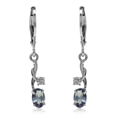 Clearance! Petite Simulated Color Change Alexandrite&White CZ 925 Sterling Silver Leverback Earrings