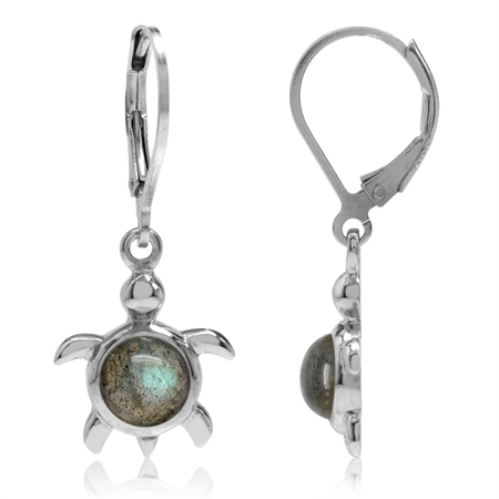 Labradorite White Gold Plated 925 Sterling Silver Turtle Leverback Dangle Earrings