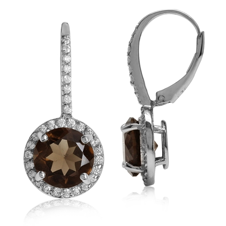5.34ct. 9MM Natural Round Smoky Quartz White Gold Plated 925 Sterling Silver Halo Leverback Earrings