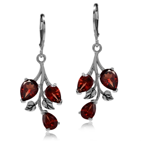 5.7ct. Natural Garnet 925 Sterling Silver Leaf Leverback Dangle Earrings