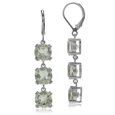 12.36ct. 3-Stone Natural Green Amethyst 925 Sterling Silver Leverback Dangle Earrings