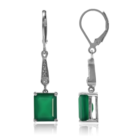 6.38ct. Natural Emerald Green Agate & White Topaz 925 Sterling Silver Leverback Dangle Earrings