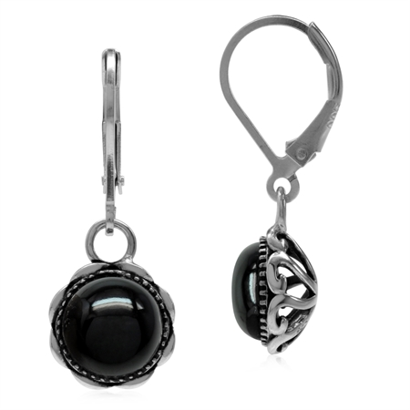 Created Black Onyx 925 Sterling Silver Filigree Leverback Dangle Earrings